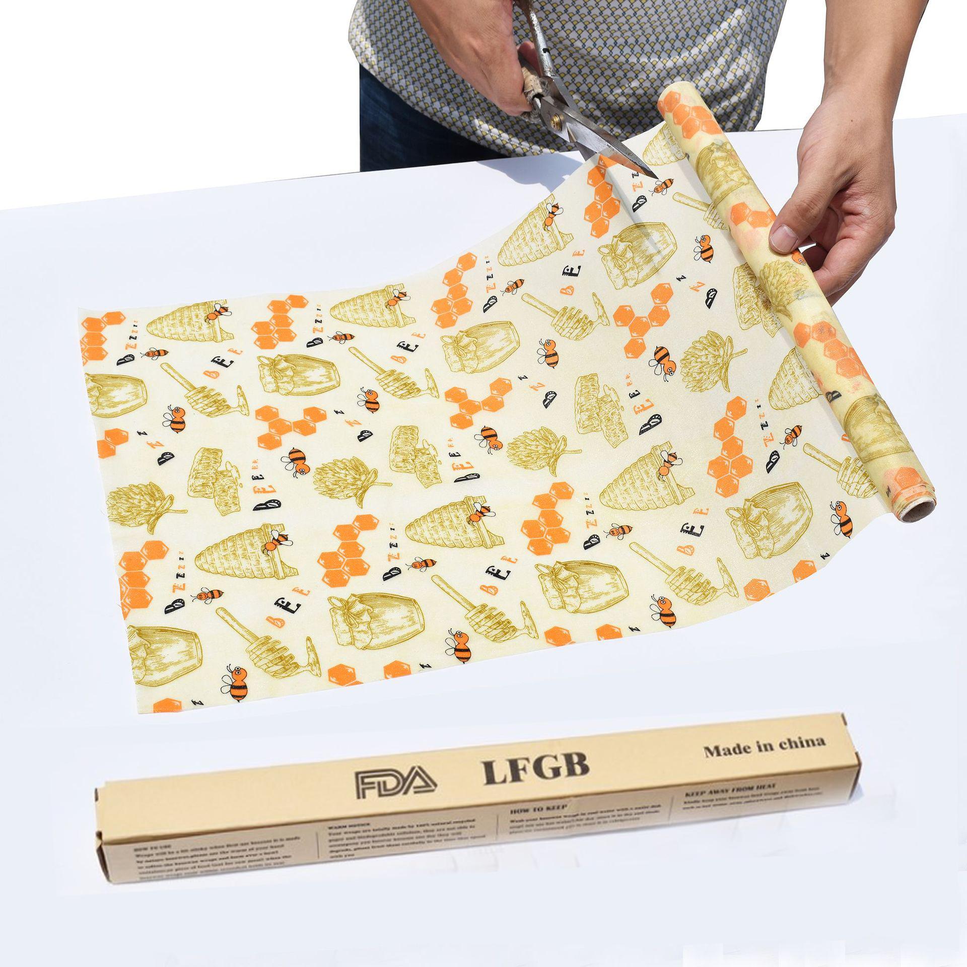 Custom Reusable beeswax food wraps cotton organic food wrap roller bee wax food warp