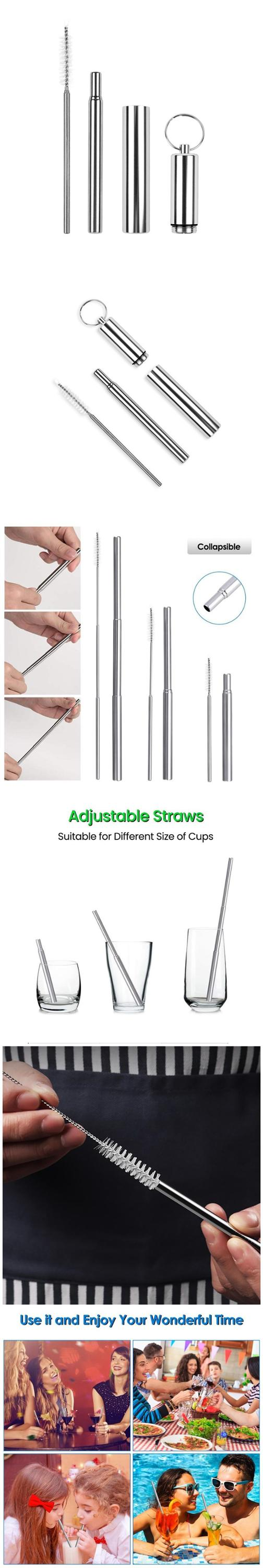 Reusable Collapsible Straw Telescopic Stainless Steel Metal Straw with Aluminum Case