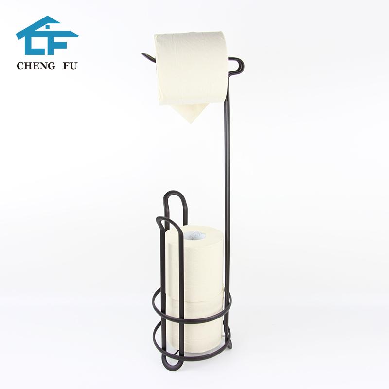 OEM acceptable metal big modern black free standing bathroom tissue toilet roll paper towel holder stand