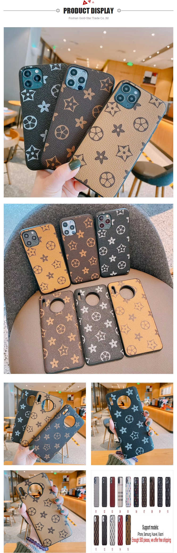 Free Shipping New Fashion Luxury PU Leather Designer Mobile Phone Cover Case for iPhone 12 Phone Bags for Samsung S21