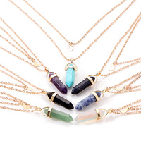 Fashion Bullets Pendant Necklace Two Layer Gold Color Necklace Natural Stone Necklace Jewelry For Women