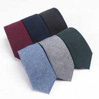 High quality fashion accessories solid color imitation wool brushed soft cotton made unisex casual 6cm necktie ties