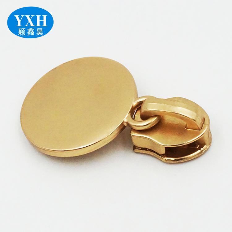 Gold sliver black round pie handle metal zipper puller coat down jacket zipper head