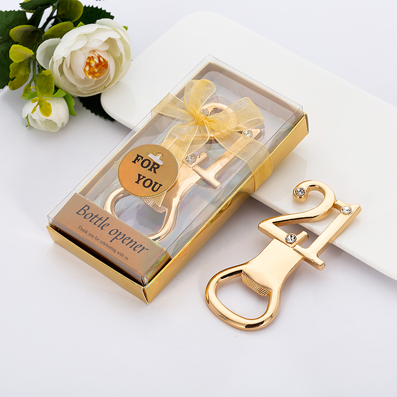 Creative Zinc Alloy Corkscrew Wine Opener Gold Beer Bottle Opener for Wedding Birthday Gift