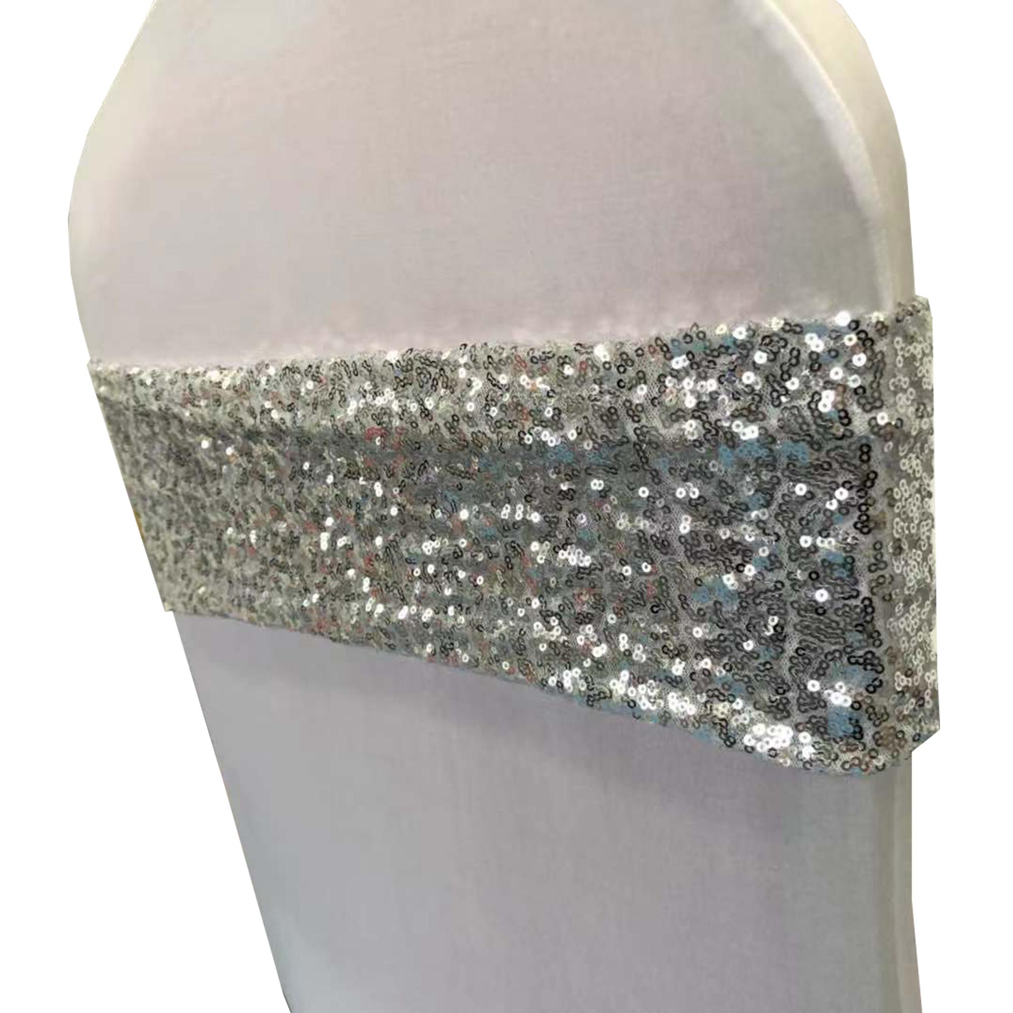 cheap silber glitter sequin chair sashes stretch sequin chair sashes