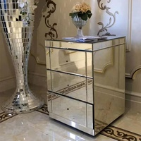 Bedroom simple tall mirrored night stand with 3 drawers