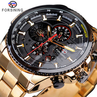Forsining Luxury Men Automatic Mechanical Watches Classic Stainless Steel Strap Calendar Wristwatches