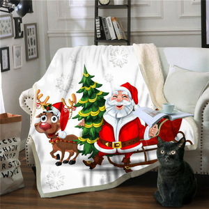 New 2019 Santa Claus super soft composite sherpa fleece blanket sofa blanket children's nap blanket Christmas gift