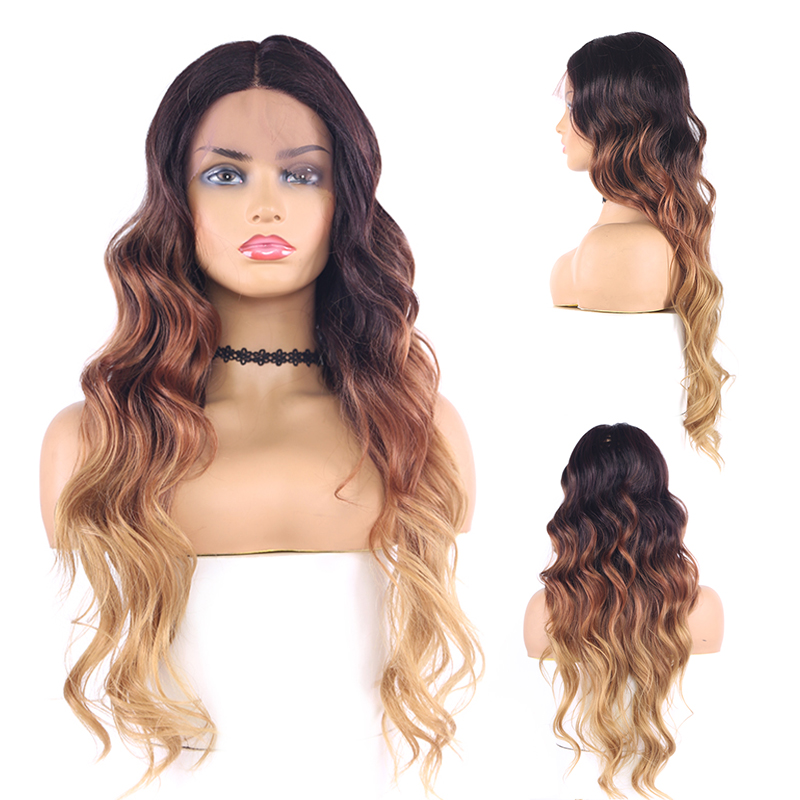 Long Part 26 Inch Long Curly Ombre Blonde colored <strong>Wig</strong> With Dark Roots Wavy hair <strong>wigs</strong> <strong>Synthetic</strong> <strong>Wig</strong> Lace Front