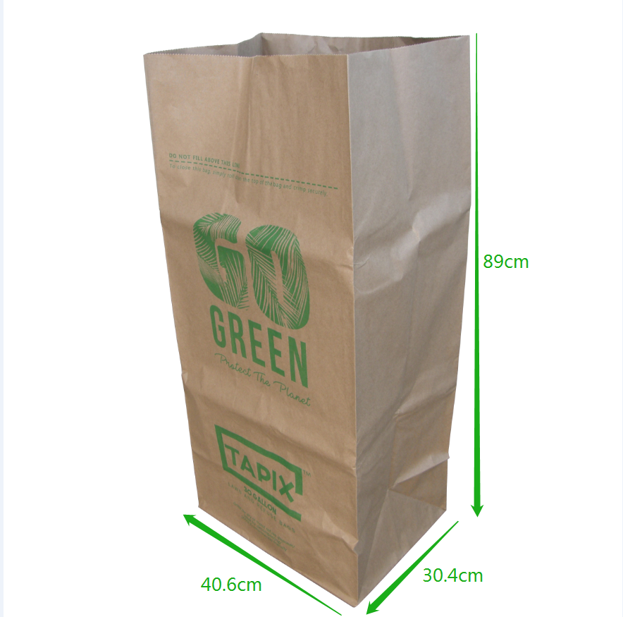 Eco-friendly biodegradable kraft paper garden lawn and leaves yard waste bag garbage paper bag 30gallon