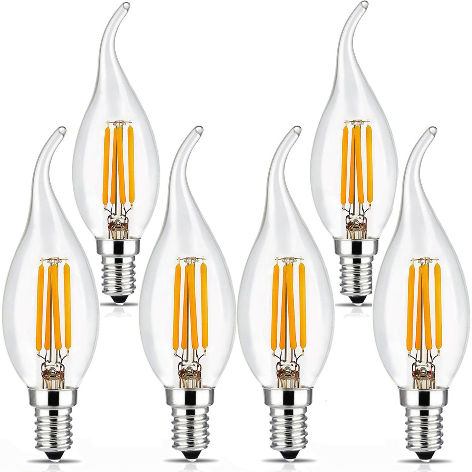BRIMAX 6pack Dimmable 2700k 110v C35T Vintage Light <strong>Bulb</strong>