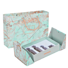 Marble luxury double opening liquid cream cosmetic paper packing box perfume essence oil display box