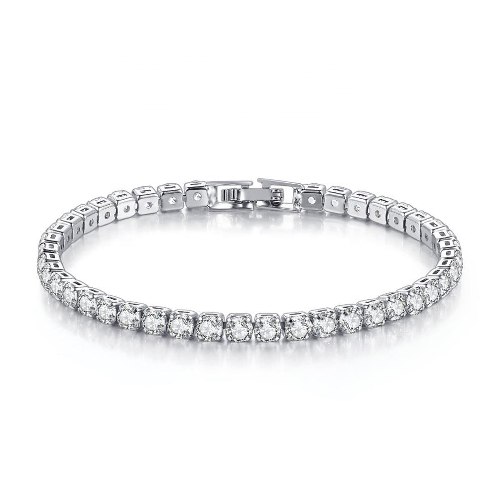 Wholesale Luxury 18K White Gold Plated 4MM Cubic Zirconia <strong>CZ</strong> Diamond Charm <strong>Tennis</strong> <strong>Bracelet</strong> for Women
