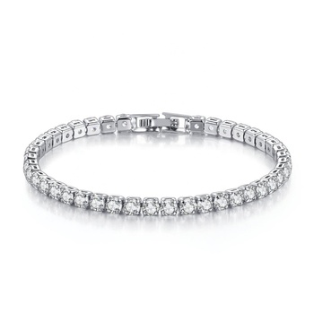 Wholesale Luxury 18K White Gold Plated 4MM Cubic Zirconia CZ Diamond Charm Tennis Bracelet for Women