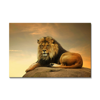 Gallery wrapped large gold African animals male lion king HD picture wall hang canvas print art painting