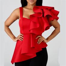 Женская блузка, топы, рубашки, сексуальные, с баской, красные, с рюшами, с асимметричными рукавами, тонкие, вечерние, одежда, лето 2020, новая мод...(China)