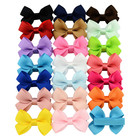 Grosgrain Ribbon Girls Hair Bow Clips Ribbon Cute Pure Color Polyester Bow Hair Clip For Kids Girls