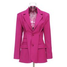 Женский блейзер TWOTWINSTYLE, Черный Повседневный блейзер с длинными рукавами и рюшами, осенняя модная одежда 2020(Китай)