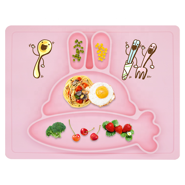Heat Resistant Silicone Rabbit Baby Placemat Toddler Divided Feeding Plate With Strong Suction