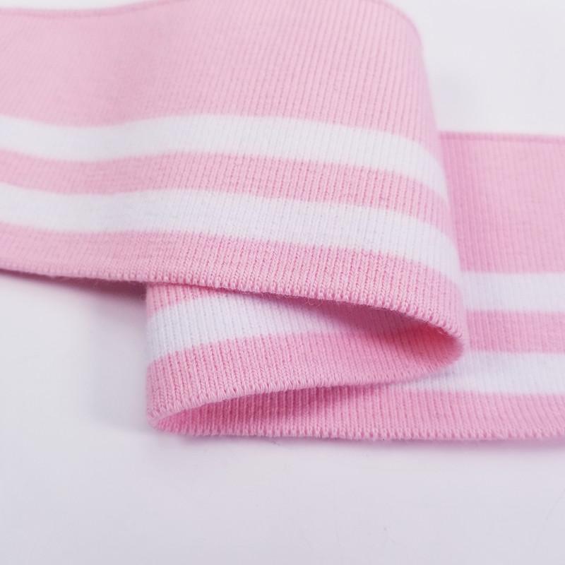 New Custom Clothing Cuff Neckline Collar Knit Fabric Striped Ribbon for sport cloth