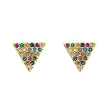 2019 Trendy 18K Gold Plated Colorful CZ Triangle Stud Earrings