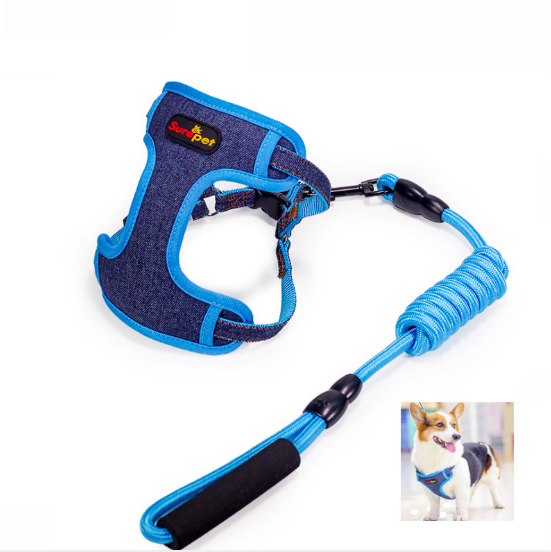 New Hot Fashion Pet Dog Harness Leash Cowboy Canvas Nickel Buckle Dog Harness Vest with Double Reinforcement Climbing rope