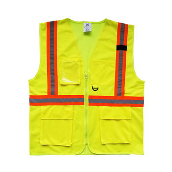 Wanxiao yellow and orange hot sale pockets safety hi vis reflective vest