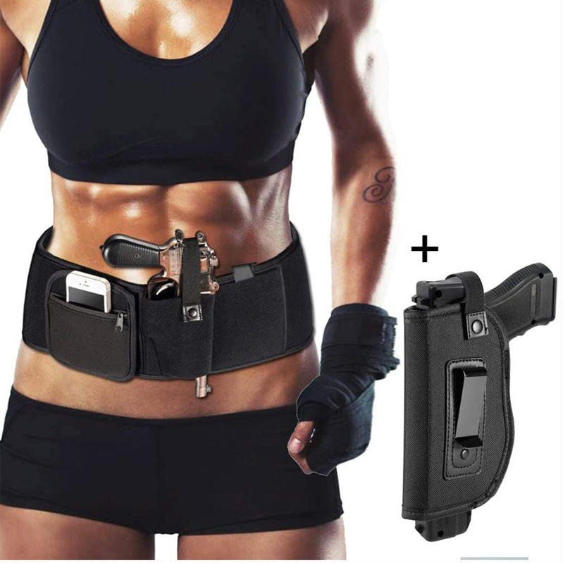 military neoprene tactical waist belt <strong>gun</strong> waistband pistol <strong>holster</strong>