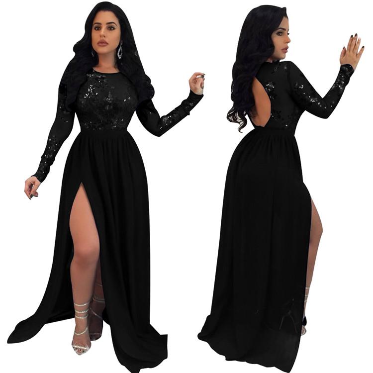 Yeni tasarımcı bayan elbise bölünmüş örgü Backless siyah pullu uzun sıska seksi zarif parti balo gece elbisesi kadın elbiseler