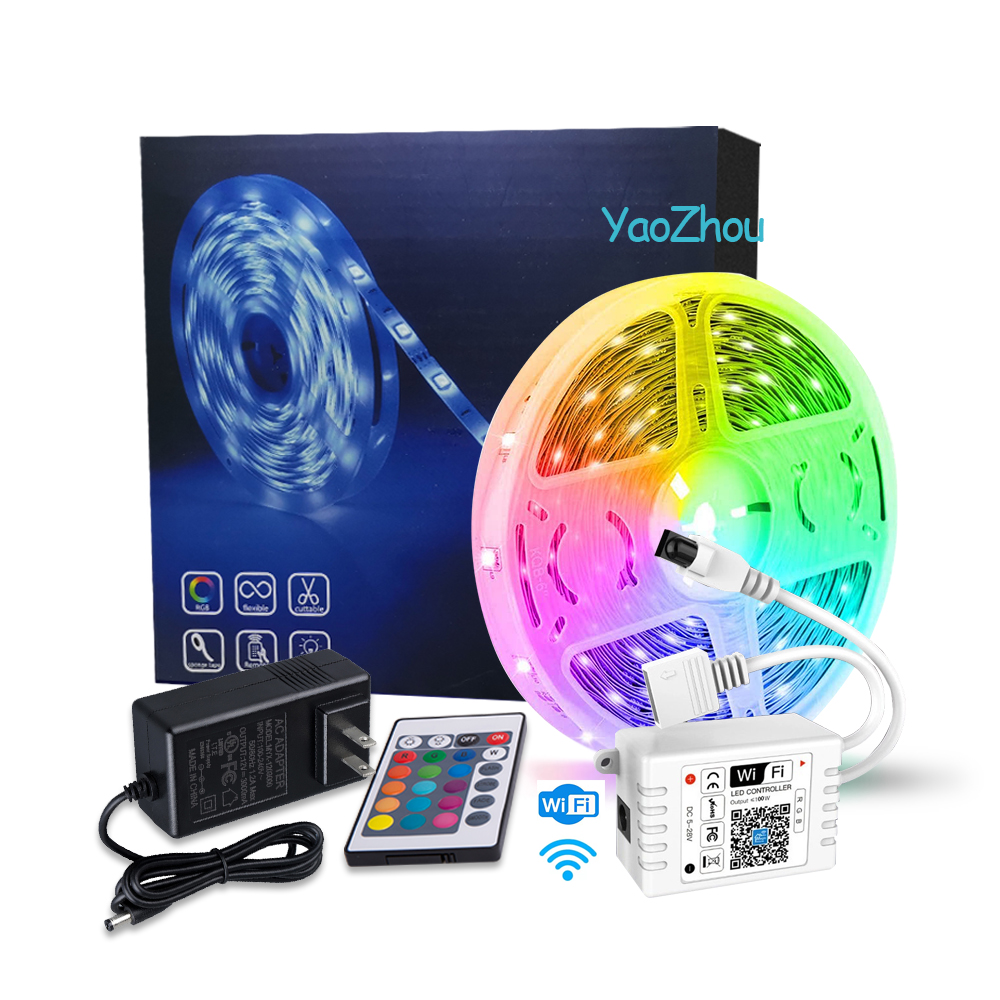Wholesale Smart Neon Flex 12V Outdoor 5050 Flexible SMD 5m RGB 24 Keys Waterproof Led Strip Lights With WIFI Remote Controller