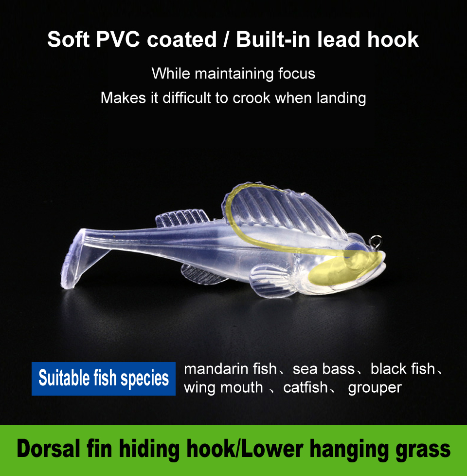 High Quality 70mm 13g Artificial Bass Soft Fishing Lure
