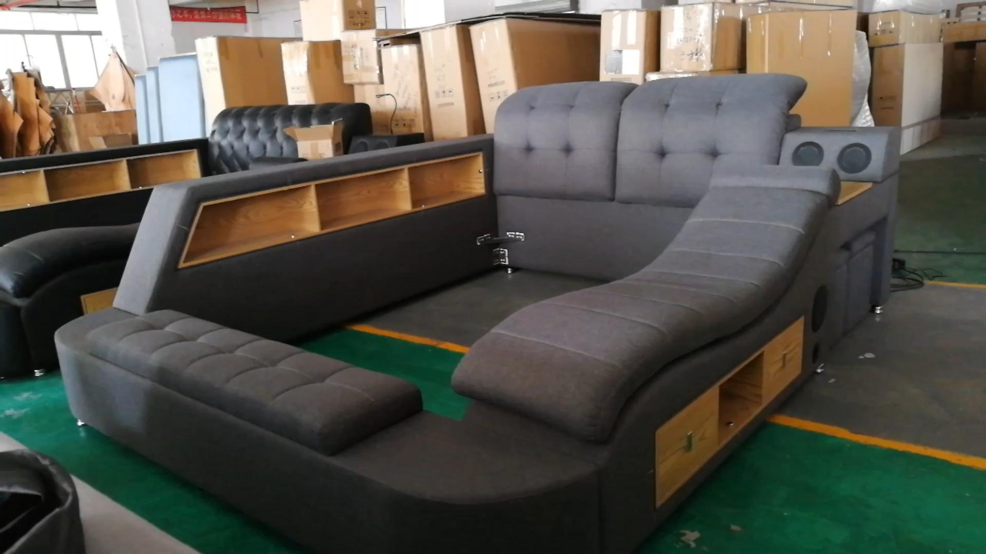 덮개를 씌운 가족 나무 침대 카마 Luxo Furnture 트윈 Bedupholstered 썰매 스마트 프레임 다기능 침대