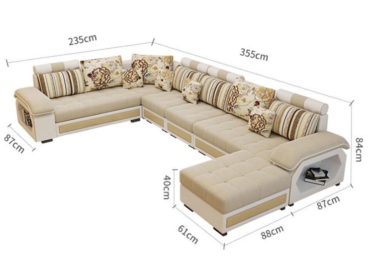 럭셔리 응원 Bam 홈 매끄러운 디자인 판매 현대 가구 5 인승 소파 거실 코너 소파 세트 가격