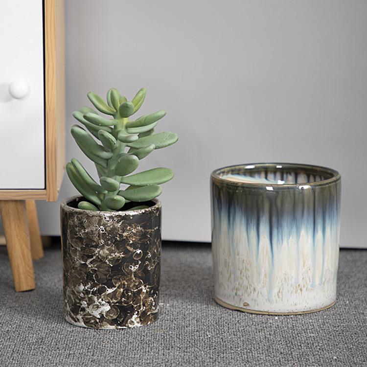 Fine modern home decor interior cylindrical ceramics glazed mini succulent plant pot