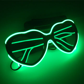 Wholesale LED Heart EL Wire Glasses Light Up Glow Flashing Eyewear Party Sunglasses Green