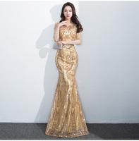 S355501 Wholesale 2020 Instock High Quality Mid Sleeve Gold Mermaid Sequin Women Evening Dress With Gold Belt