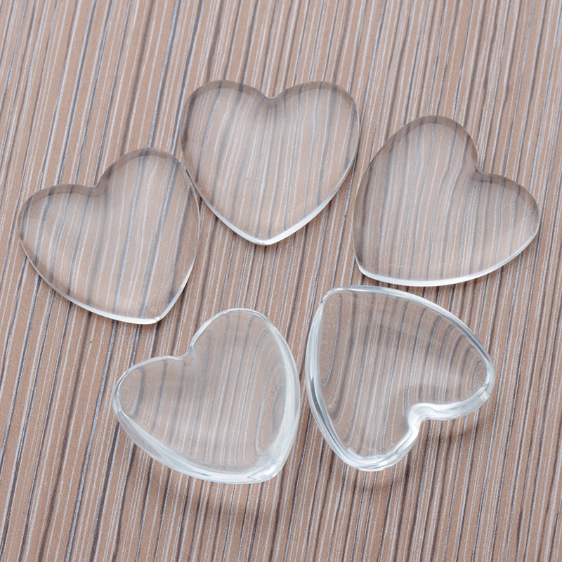 OG001  Trade Assurance 25mm Peach Heart Shape Clear Transparent Glass Cabochon Bezel Base Setting Patterns For Jewelry Making