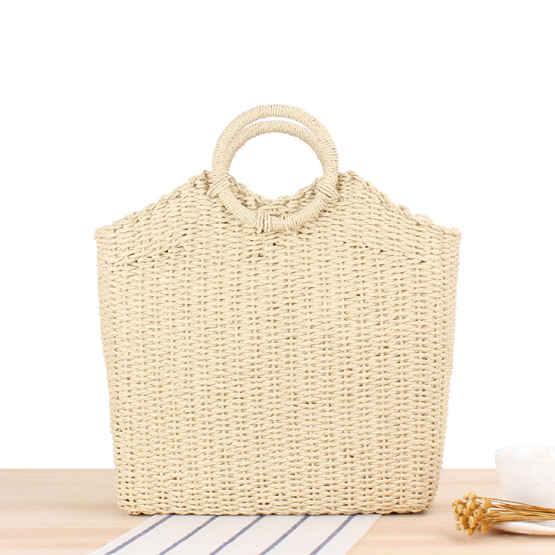 Wholesale women summer straw beach tote bag high capacity hollow out basket bag