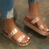 fashion women platform bling casual beach slides wedge gold cheap wholesale ladies slippers summer sandals
