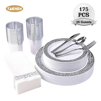 New Design 175 pcs Party Supplies Disposable Sliver Plastic Dinnerware Set Cup Plate Napkin For Birthday Wedding
