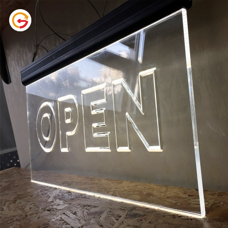 JAGUARSIGN Manufacturer Custom Edge Lit Acrylic Led Signage Hanging Illuminated Open Sign Side Light for Shop