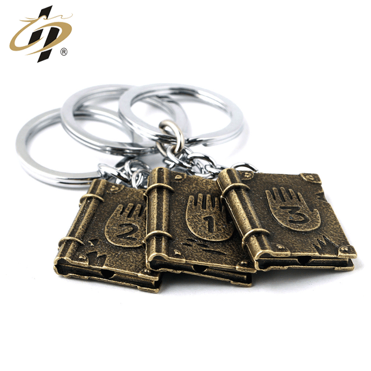 Custom zinc alloy metal antique 3d book souvenir keychains