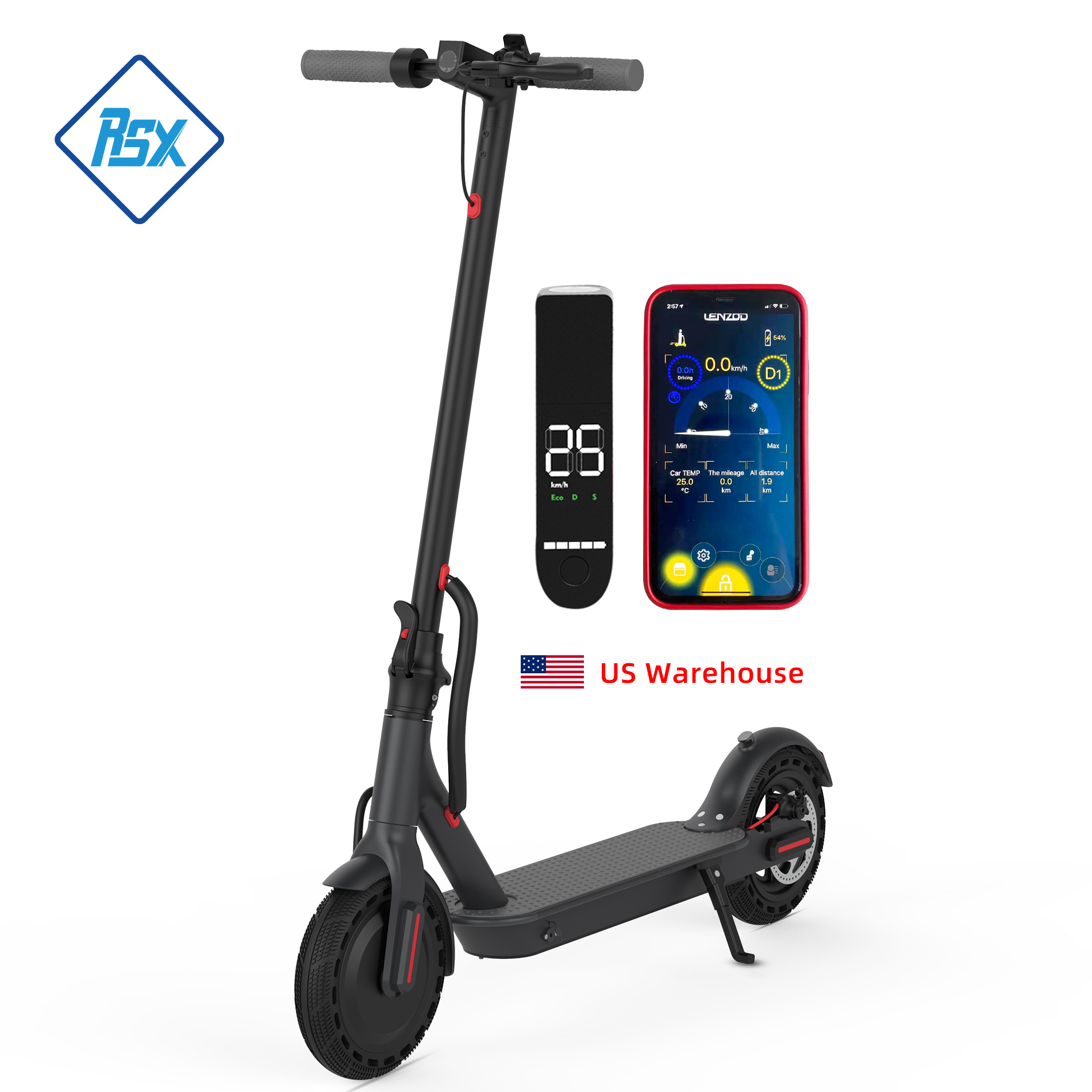 DDP Free Duty American USA US Warehouse Free Drop Shipping 36V 10Ah 350w Skateboard Foldable E scooter Adult Electric Scooter