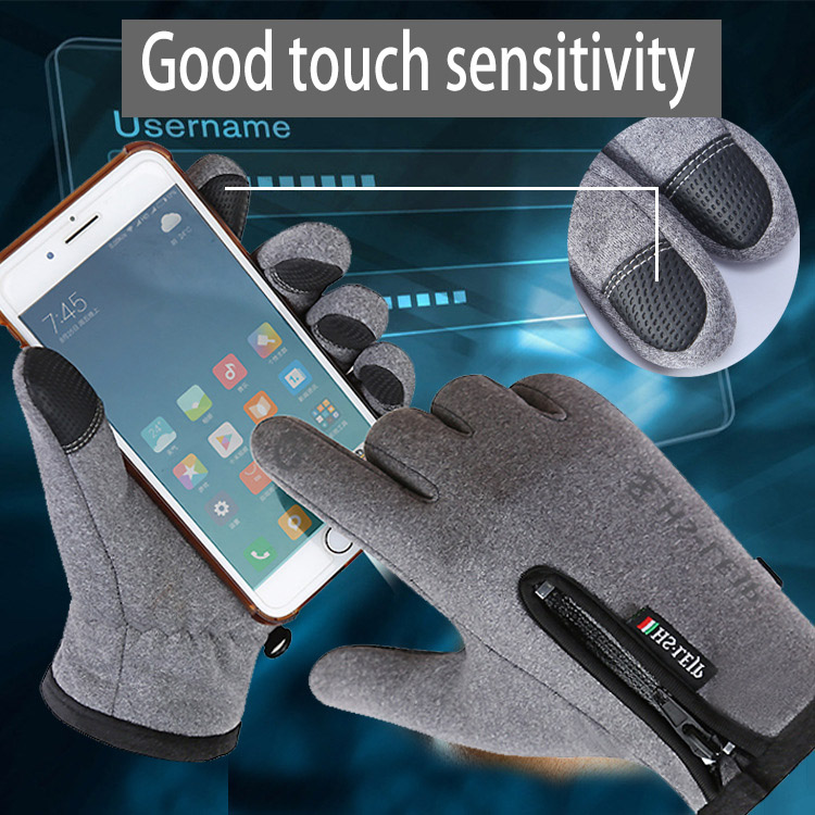 Touch-screen waterproof antiskid PU warm winter motorcycle riding gloves with custom logo