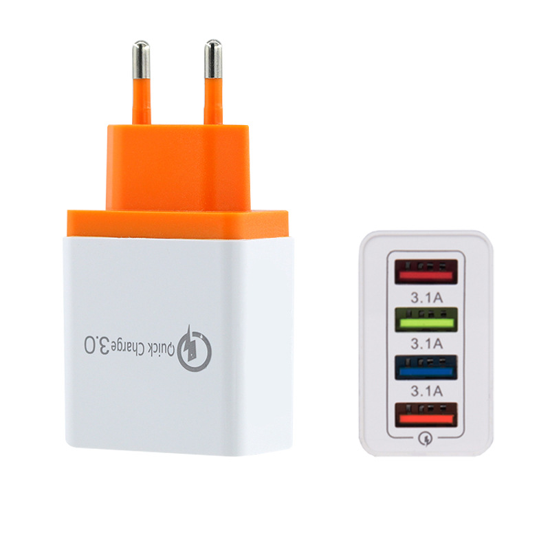 3.1A מהיר תשלום 3.0 מהיר מטען בריטניה תקע 4 יציאת Usb מטען קיר עבור iPhone בריטניה תקע QC3.0 USB נסיעות מטען