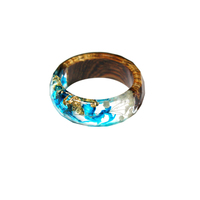 19S101002-Wholesale Hot Selling Delicate Wood Resin Ring Glow Epoxy Dried Flower Ring For Promotional Gifts