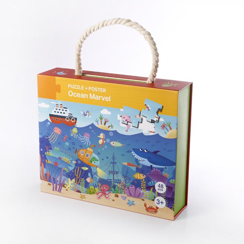 Eco friendly magnético personalizado impresso caixa pacote flap crianças enigma cartaz de papelão rígido com alça de corda