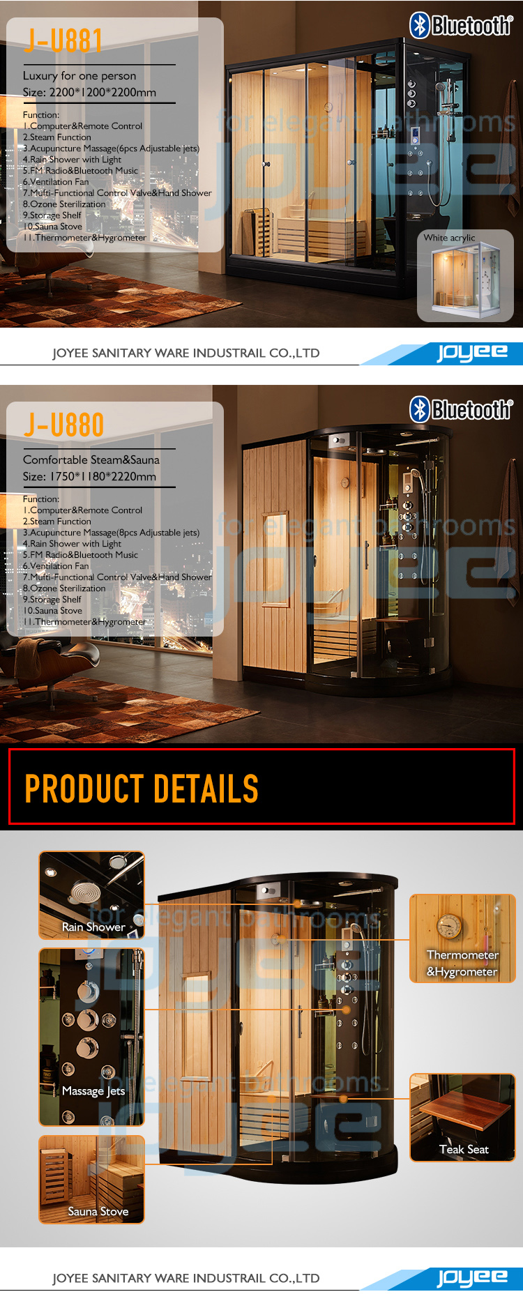 JOYEE Factory price wholesale wet steam sex sauna room traditional for family