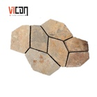 Cut-To-Size [ Stone Tiles Tile ] Yellow Slate Landscaping Stone Garden Paving Tiles Outdoor Decoration Mesh Stone Tile For Sale