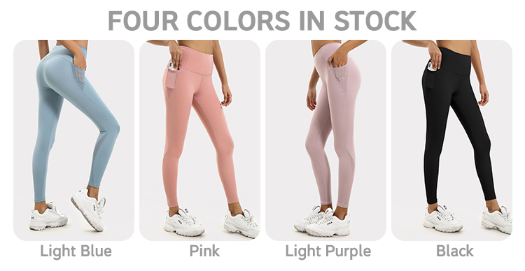 Wholesale Women High Waist Custom Compression Workout Sport Running Gym Fitness Yoga Pants Leggings with Mesh Pockets
